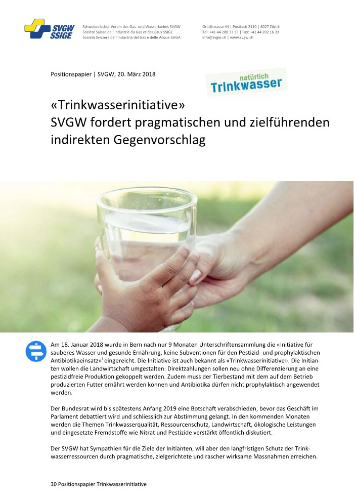 Positionspapier: «Trinkwasserinitiative»